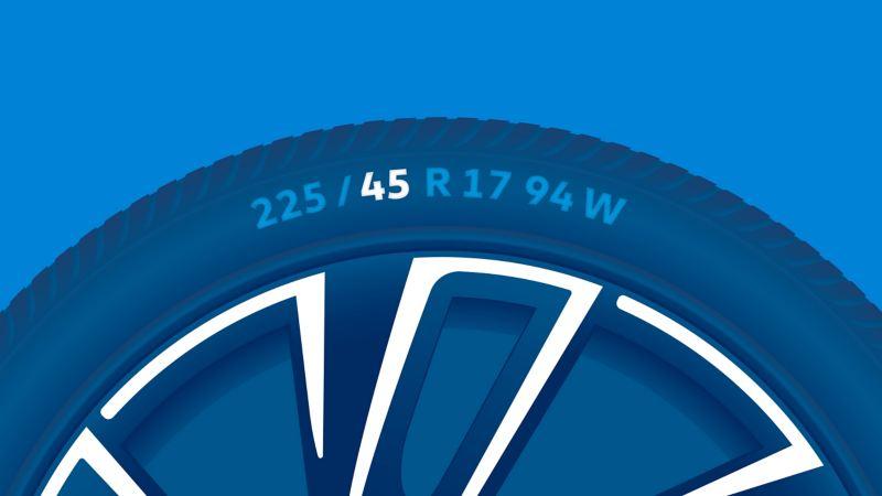 Illustration de l'étiquetage d'un pneu : rapport hauteur / largeur