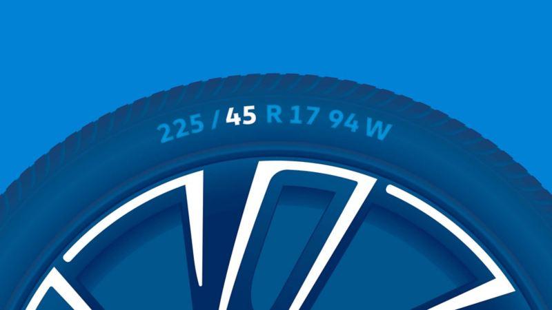 Illustration du marquage des pneus: Rapport hauteur/largeur