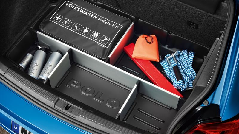 Volkswagen Safety Kit in a luggage compartment of a Polo 4 car