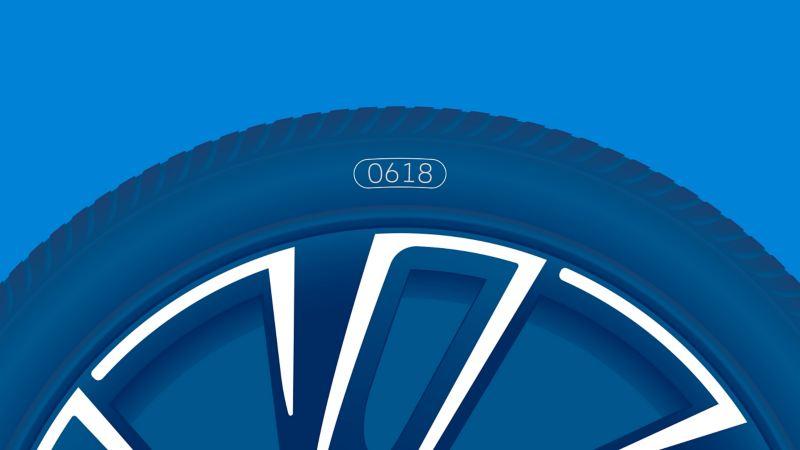 Illustration de l'étiquetage d'un pneu : date de fabrication (DOT)