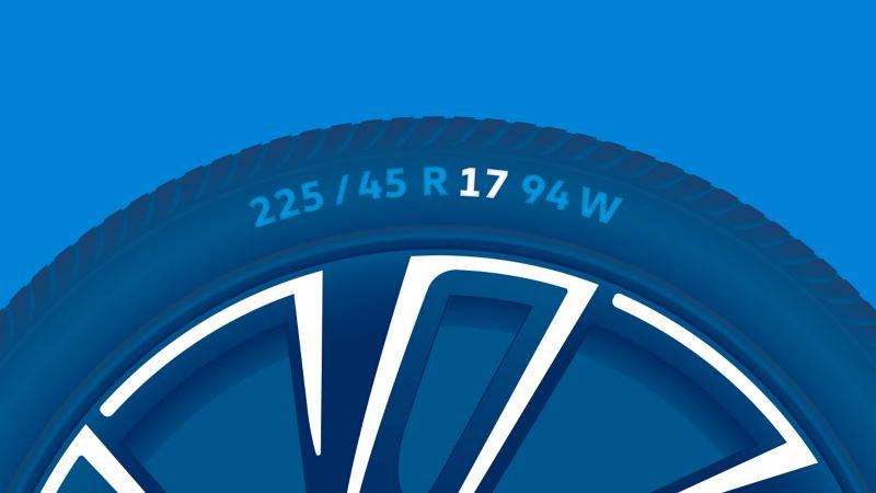 Illustration de l'étiquetage d'un pneu : diamètre de la jante en pouce