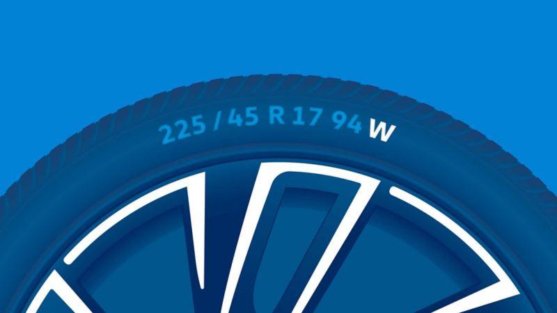 Illustration du marquage des pneus: Indice de vitesse