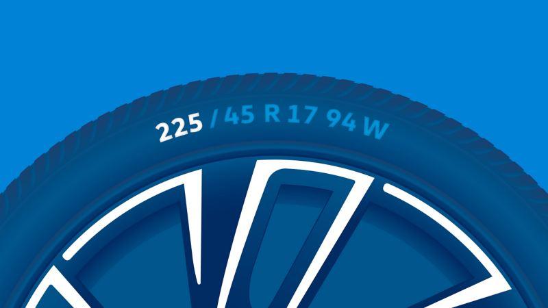 Illustration de l'étiquetage des pneus : largeur du pneu en millimètres