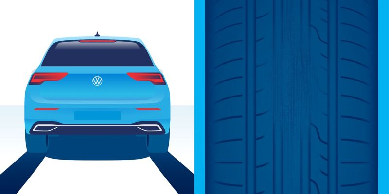 Illustration d'usure anormale d'un pneu : usure isolée causée par le freinage ou l'inactivité