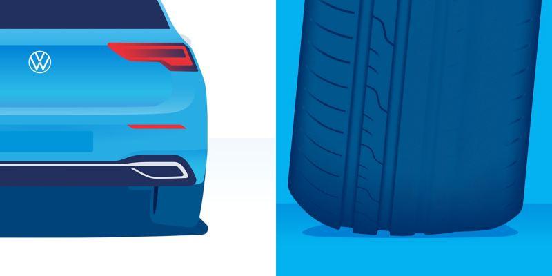 Illustration de l'usure anormale d'un pneu : usure profonde au niveau d'un épaulement