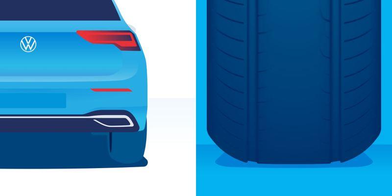 Illustration d'usure anormale d'un pneu : usure située principalement au centre de la surface de contact