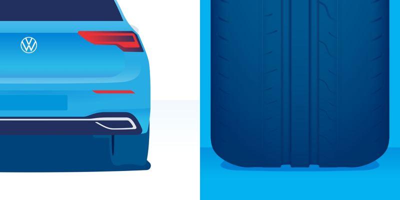 Illustration d'usure anormale d'un pneu : usure située principalement sur l'épaulement du pneu