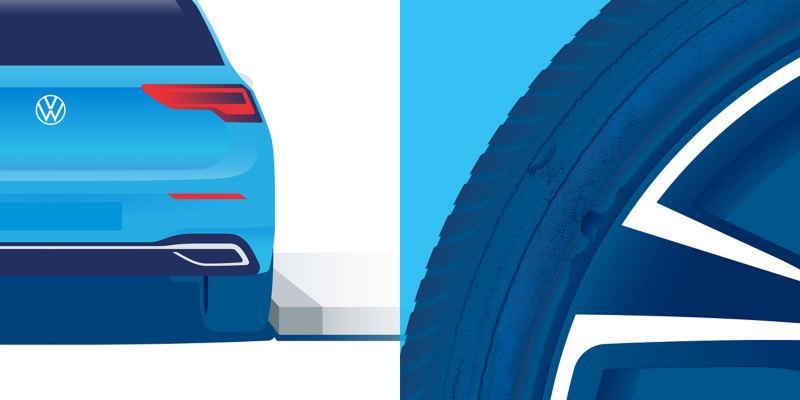 Illustration de dommages subis par un pneu : points d'abrasion
