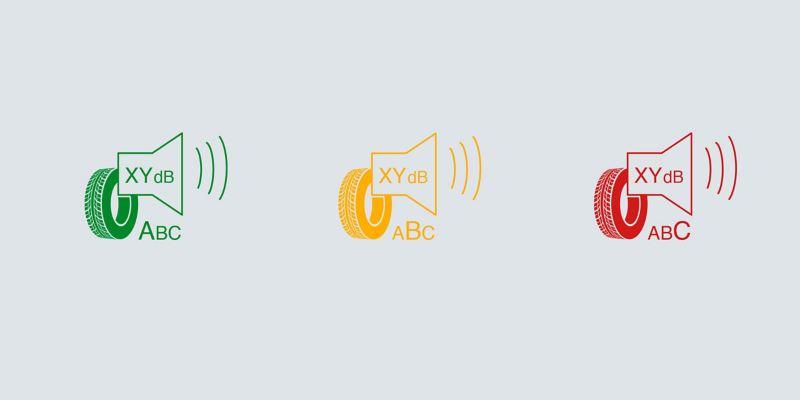 Illustration des symboles de bruit de roulement externe - Pneus VW