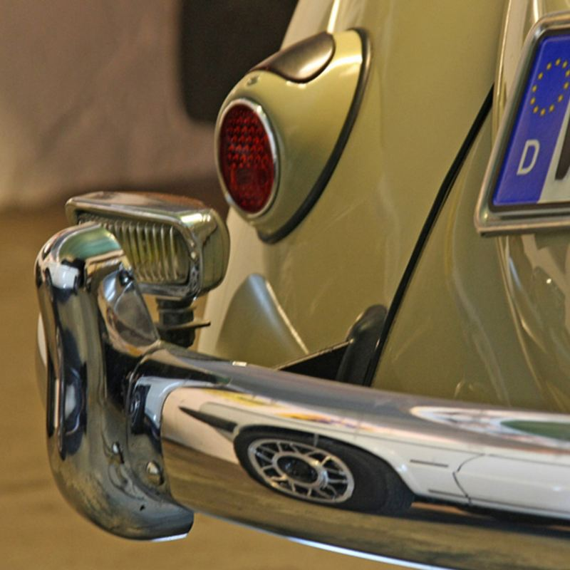 Detailed view of an older VW model with Classic Parts