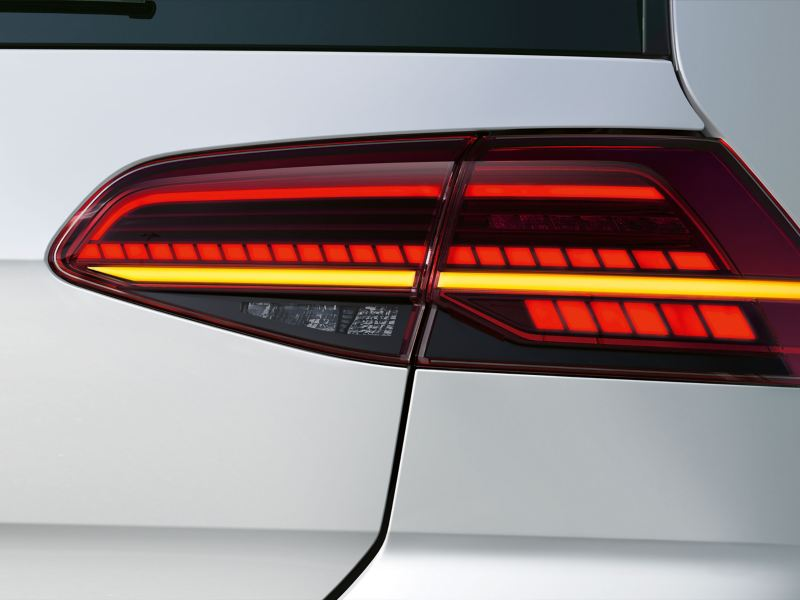 A white VW car with LED tail light clusters – Volkswagen Accessories