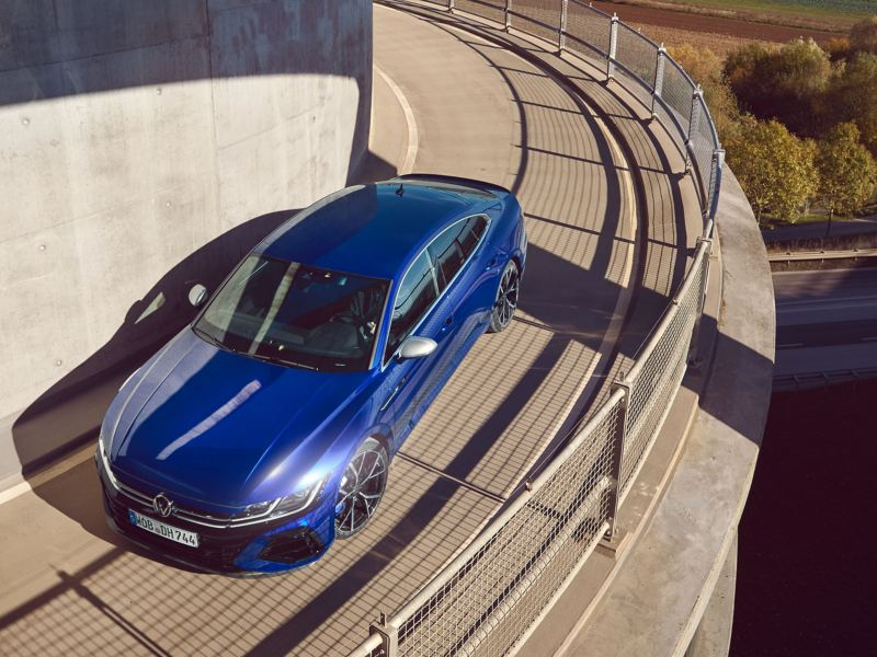 A blue VW R Arteon viewed from above