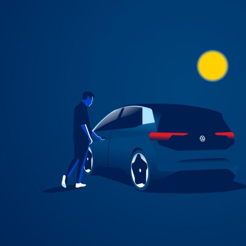 Illustration von einem Kunden und seinem Elektroauto