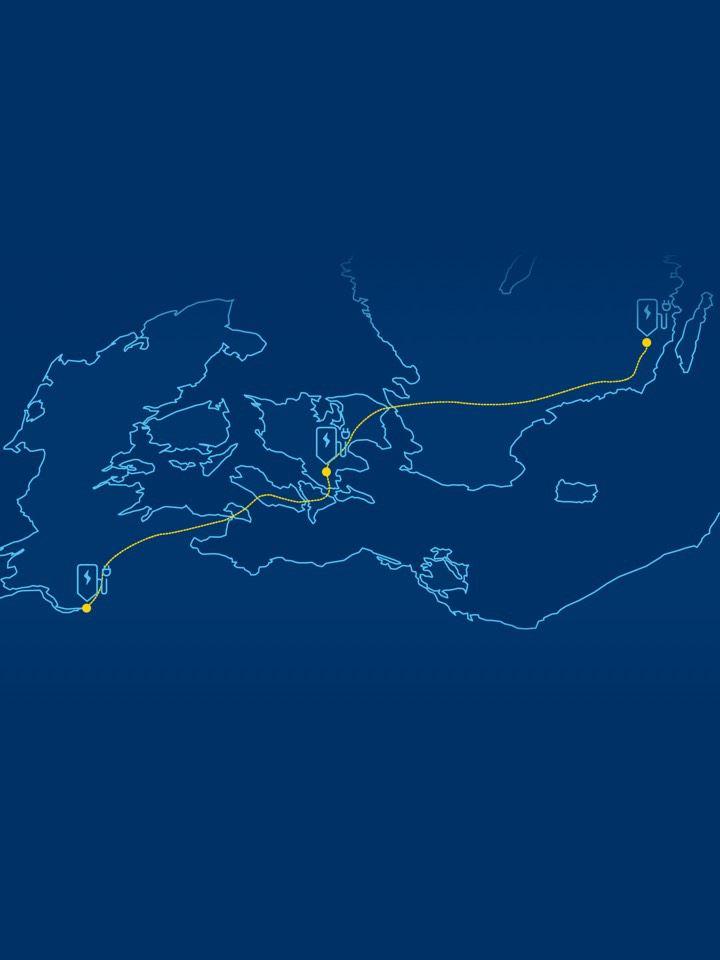 Ilustración de un recorrido por Europa con un vehículo a través de puntos de carga eléctrica