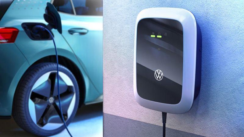 Volkswagen ID. Charger en una pared conectado a un ID.3 turquesa