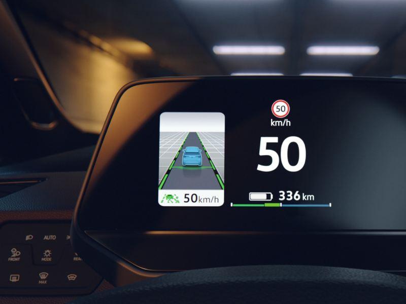 Panel de visualización de la distancia recorrida de un vehículo Volkswagen