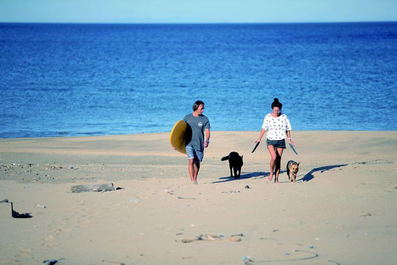 陳東銘拿著衝浪板與家人跟狗走在沙灘上