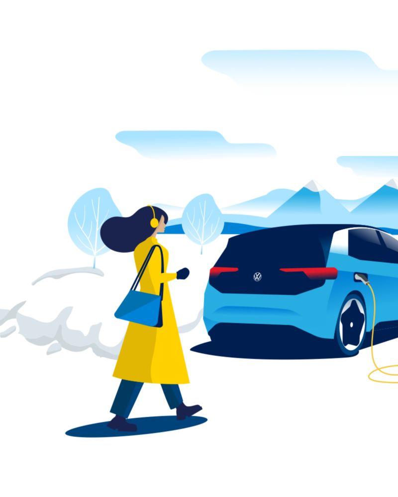Illustrazione di una donna che si avvicina a una Volkswagen ID.3, in casica presso una colonnina, sullo sfondo un paesaggio di montagna innevato.