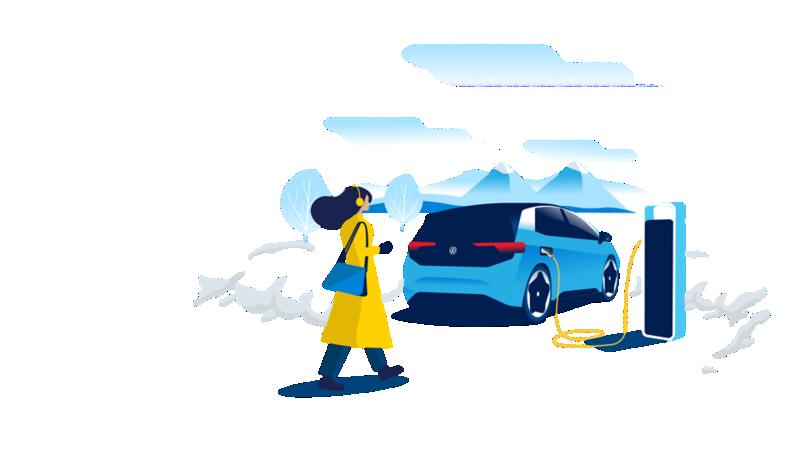 Illustrazione di una donna che si avvicina a una Volkswagen ID.3, in carica presso una colonnina, sullo sfondo un paesaggio di montagna innevato.