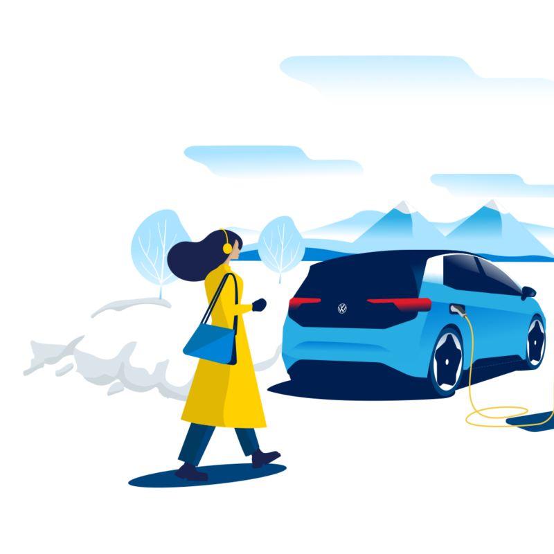 Eine Frau geht auf einen ladenden ID.3 zu, der in einer verschneiten Berglandschaft steht.