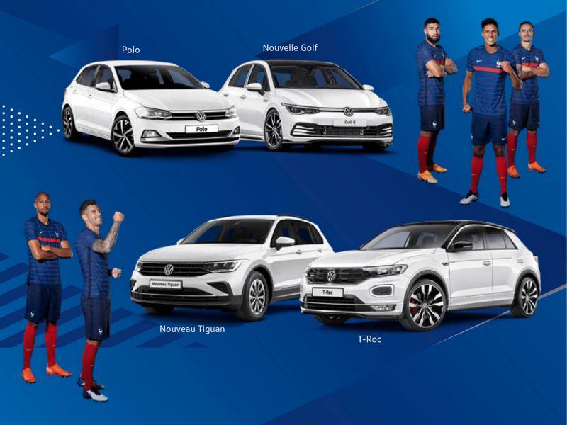 l'équipe de France à côté de véhicules Volkswagen