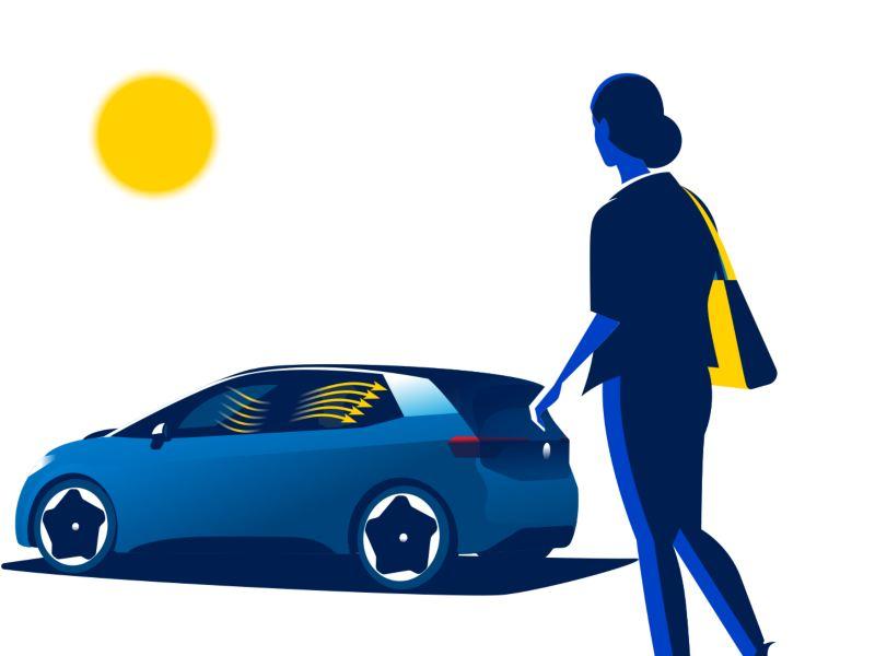 Une femme marche vers la Volkswagen ID.3