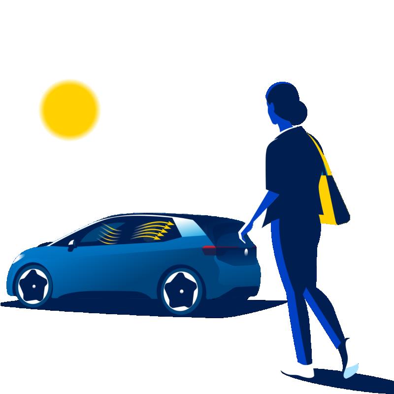 Senhora dirige-se ao Volkswagen ID.3