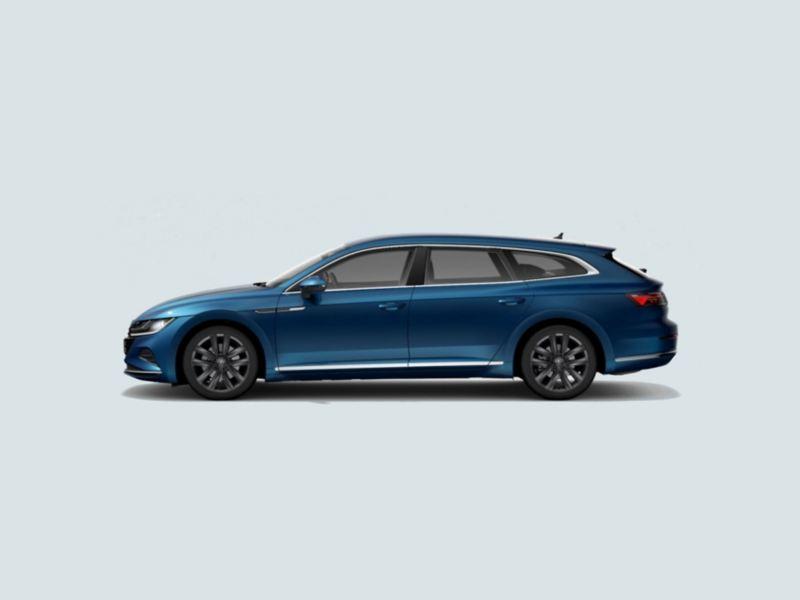 Profile view of a blue Volkswagen Arteon Shooting Break.