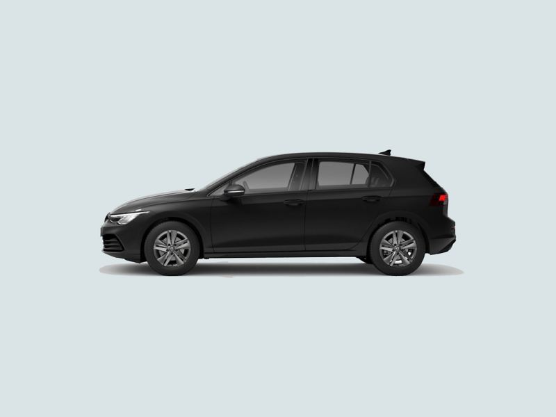 Profile view of a black Volkswagen Golf..