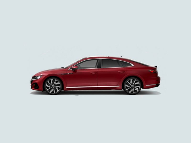 Profile view of a red Volkswagen Arteon.