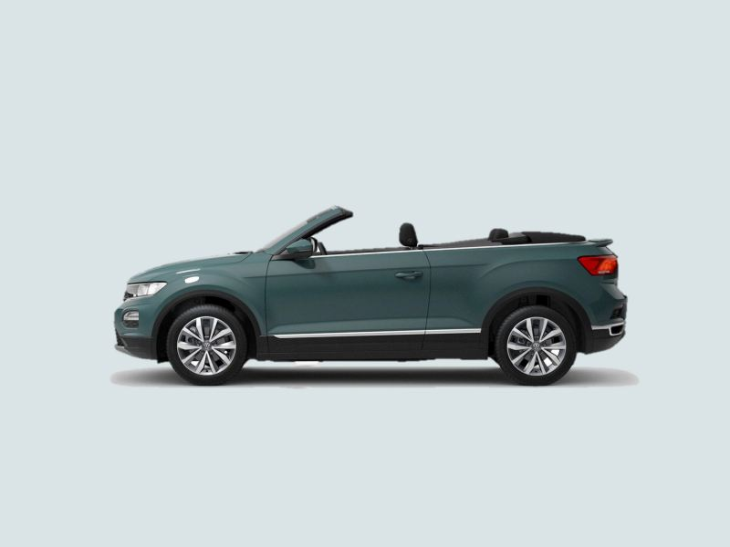 Profile shot of a green T-Roc Cabriolet