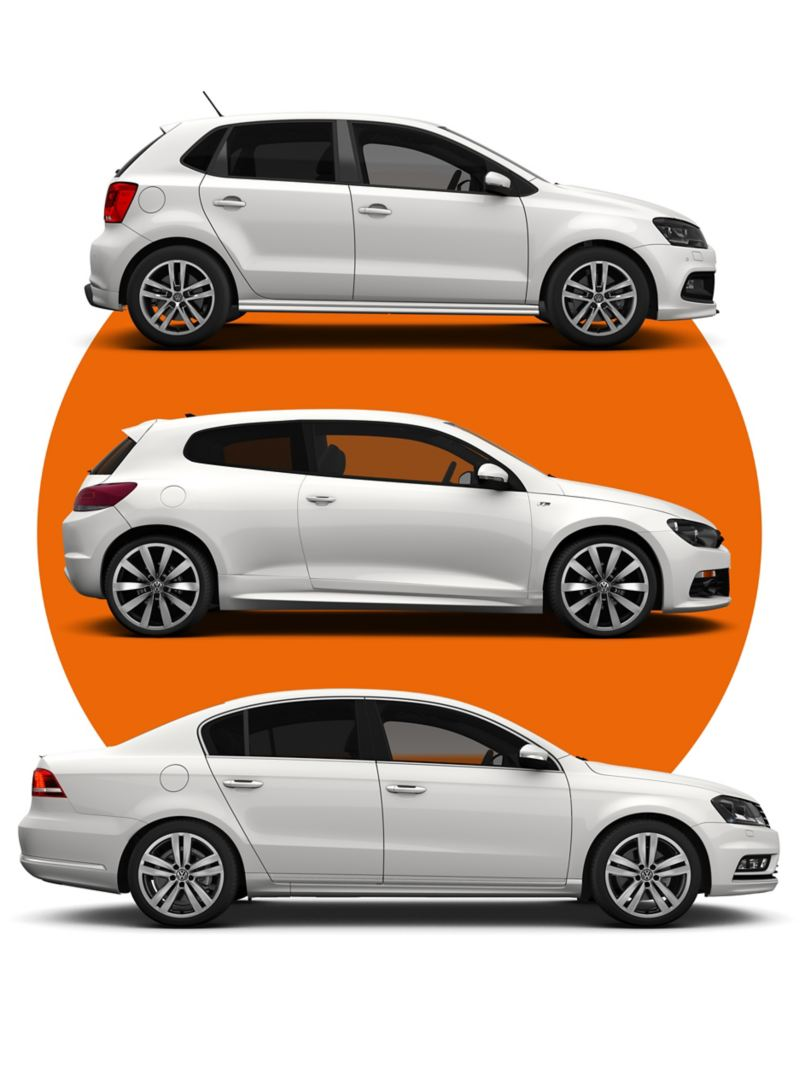 Three Approved Used Volkswagen car models stacked up