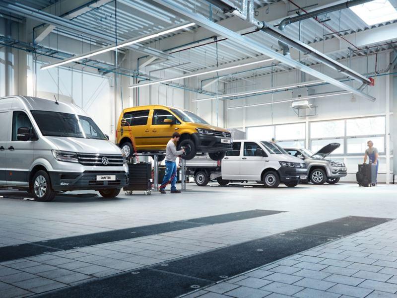 Samochody dostawcze w warsztacie