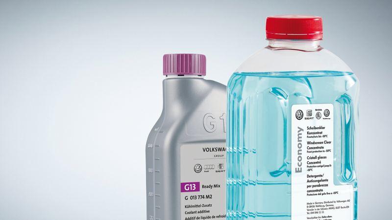 Scheibenklar und Ready Mix Flaschen mit Aufdruck.
