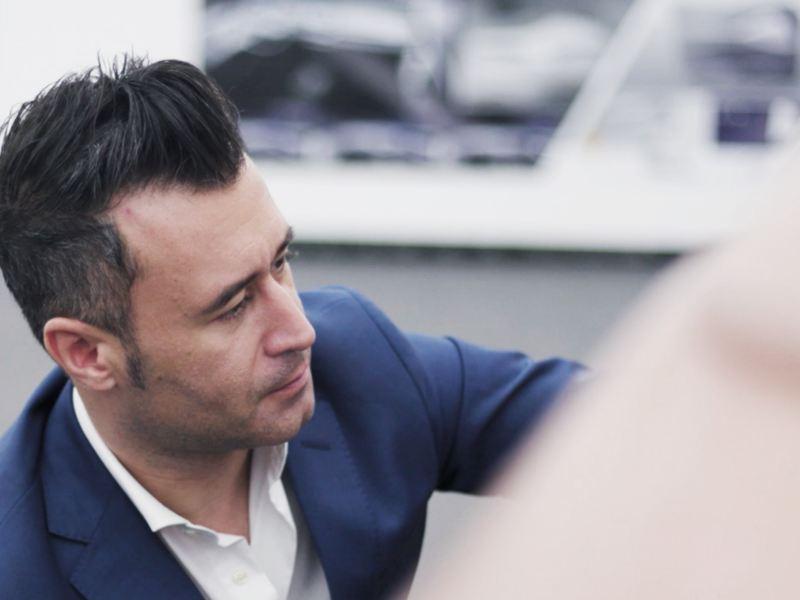 Volkswagen desiger Marco Pavone at work.