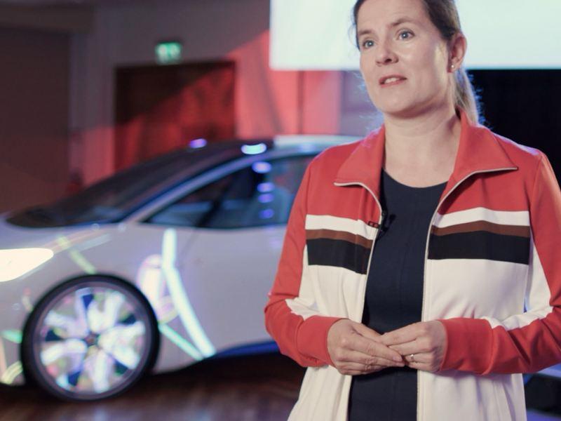 Volkswagen's Dr. Silke Bagschik standing in front of the ID.3.