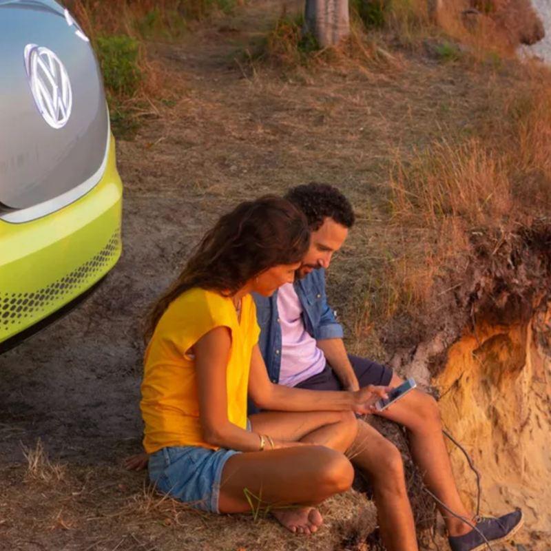 Parte frontal de ID. Buzz, vehículo eléctrico prototipo de la familia VW