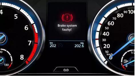 Volkswagen Brakes warning light for brake system faulty