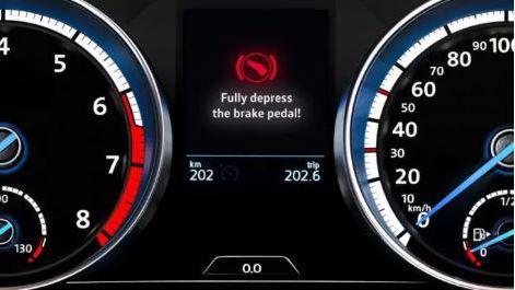 Volkswagen Brakes warning light to fully depress the brake pedal