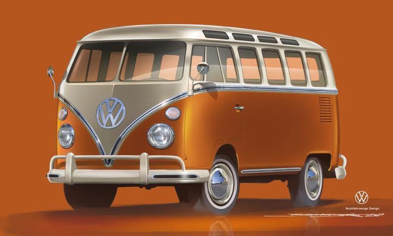 Vista 3/4 frontale di un modellino di e-BULLI Volkswagen, il mini bus completamente elettrico.