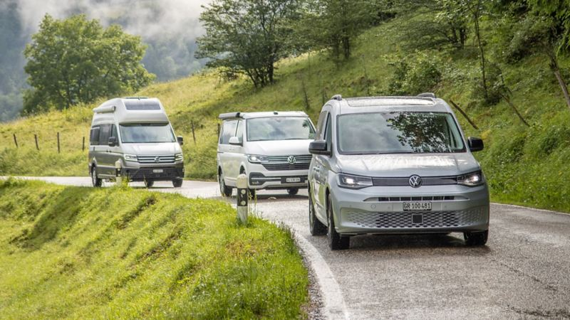 Die aktuellen VW California Modelle auf einer Landstrasse.