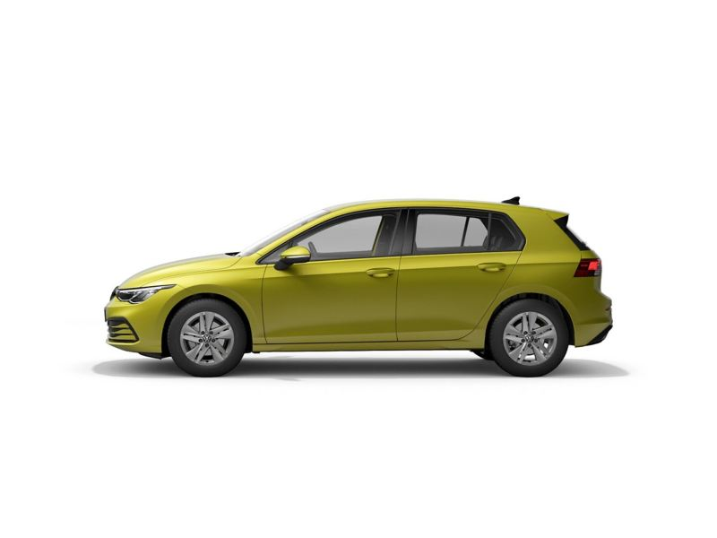 A yellow Volkswagen Golf 8 Life from profile.