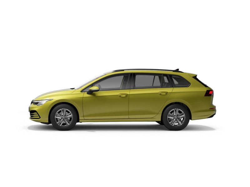 A yellow Volkswagen Golf Estate 8 from profile.