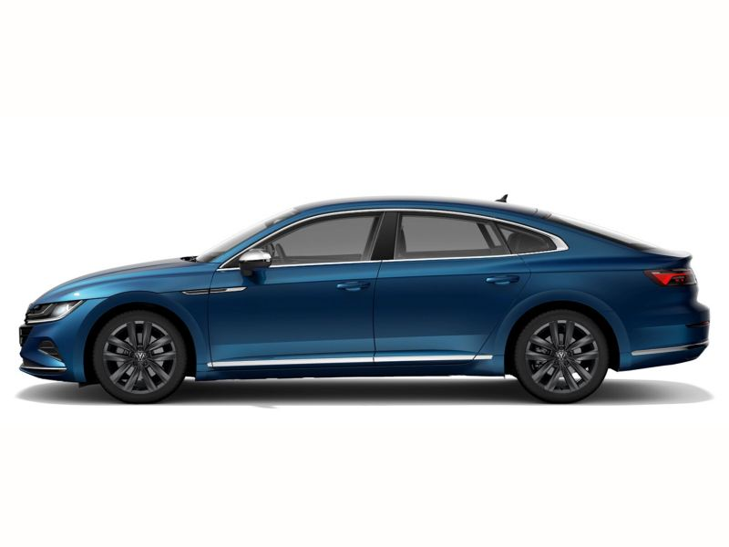 A blue Volkswagen new Arteon from profile.