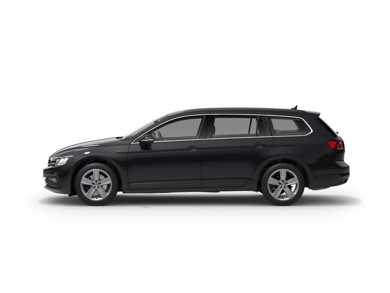 A grey Volkswagen Passat Estate from profile.