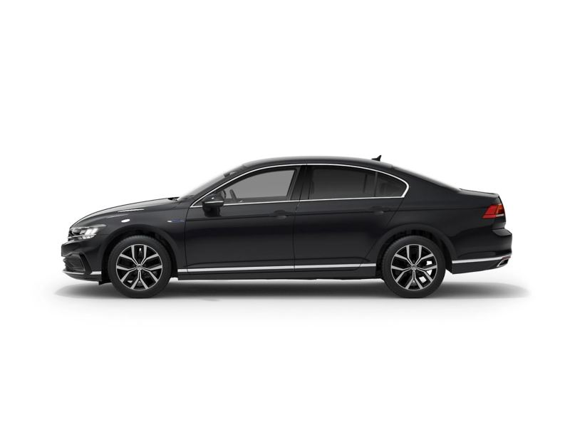 A black Volkswagen Passat Saloon GTE from profile.
