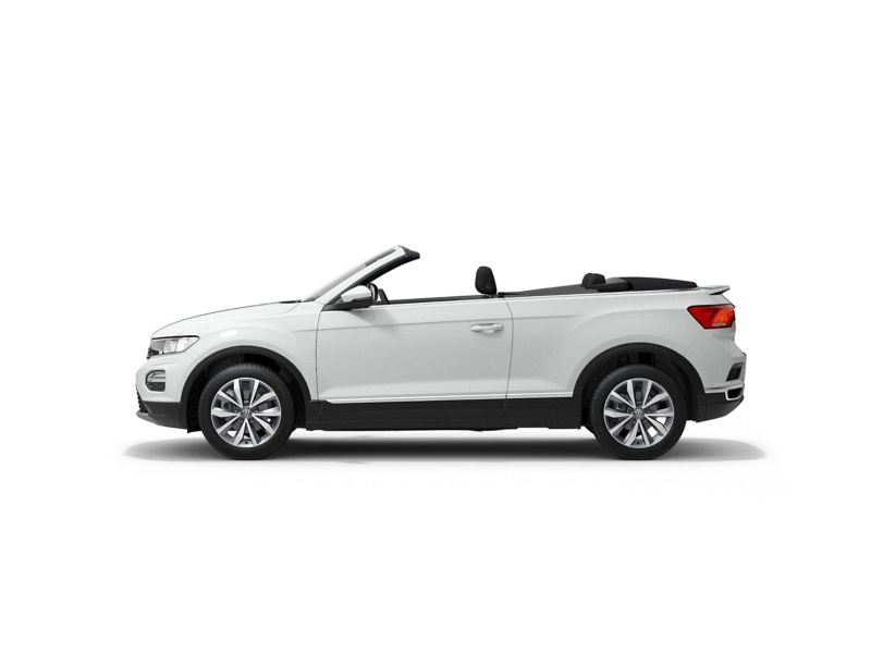 A white Volkswagen T-Roc Cabriolet from profile.