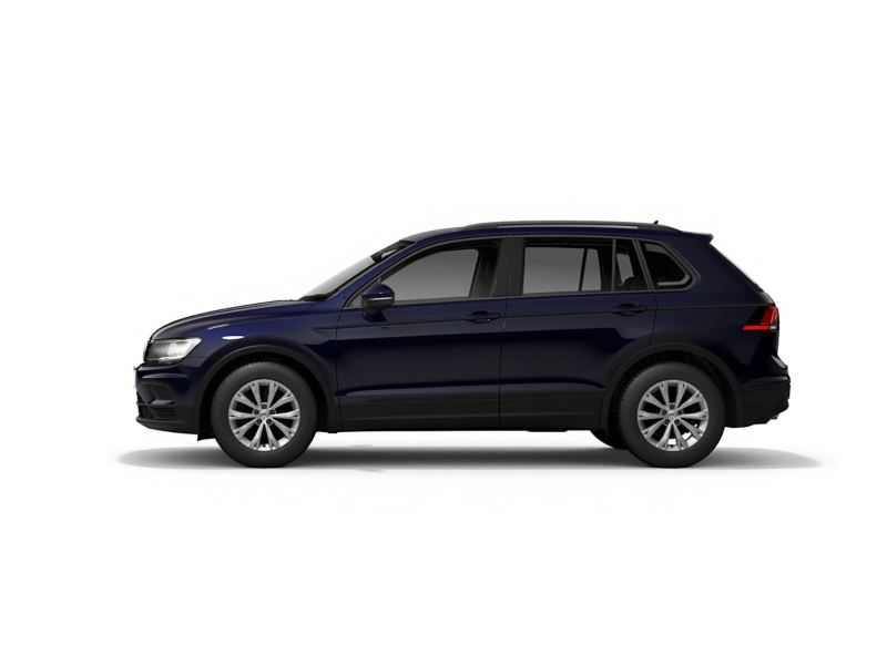 A blue Volkswagen Tiguan from profile.