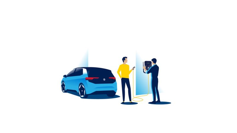 Illustration of the Ellie Wallbox being installed with the owner watching and an ID.3 parked on the drive.