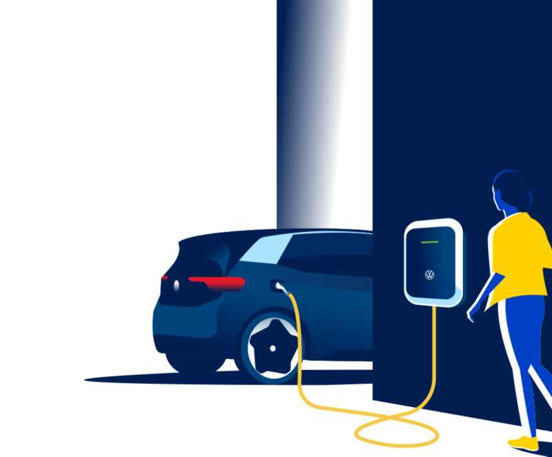 Illustration of a woman approaching the Ellie Wallbox plugged into an ID.3.